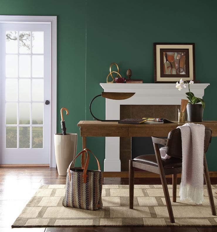 Color of the month vine leaf living room wall color