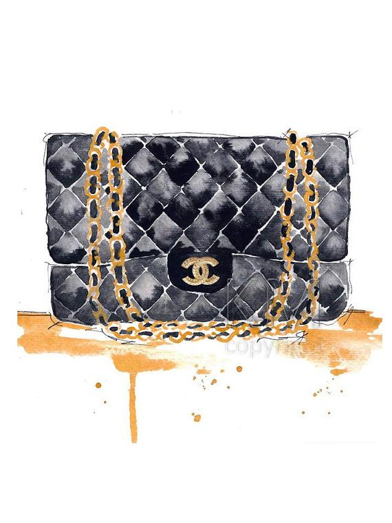 4cb10fff1cb74d Chanel Purse Fashion Illustration Watercolor Painting Print - Home ...