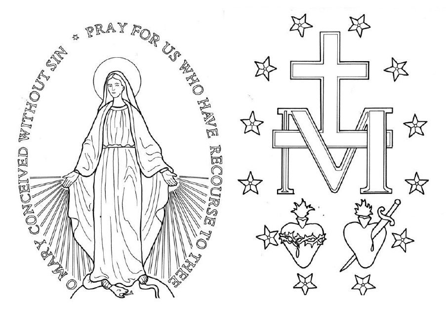 Miraculous Medal Coloring Page. | Pray✝Learn Mary/The Rosary ...