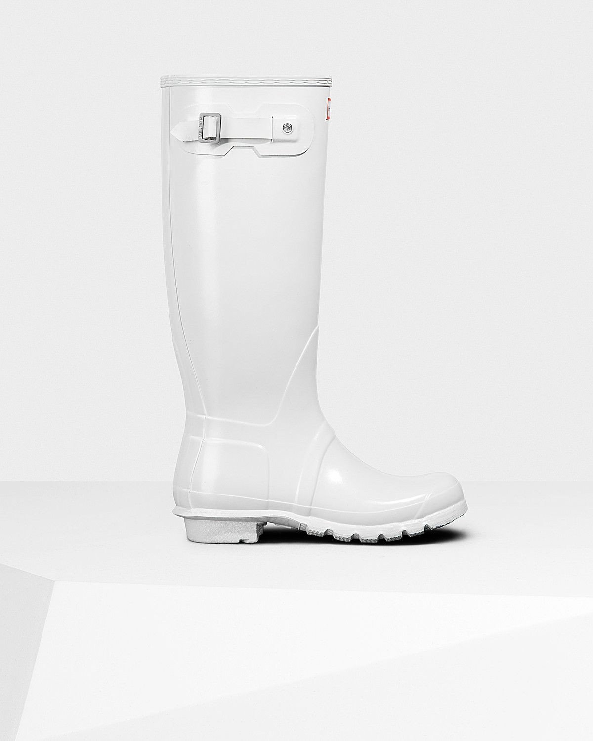 Womens White Tall Gloss Rain Boots | Official US Hunter Boots ...