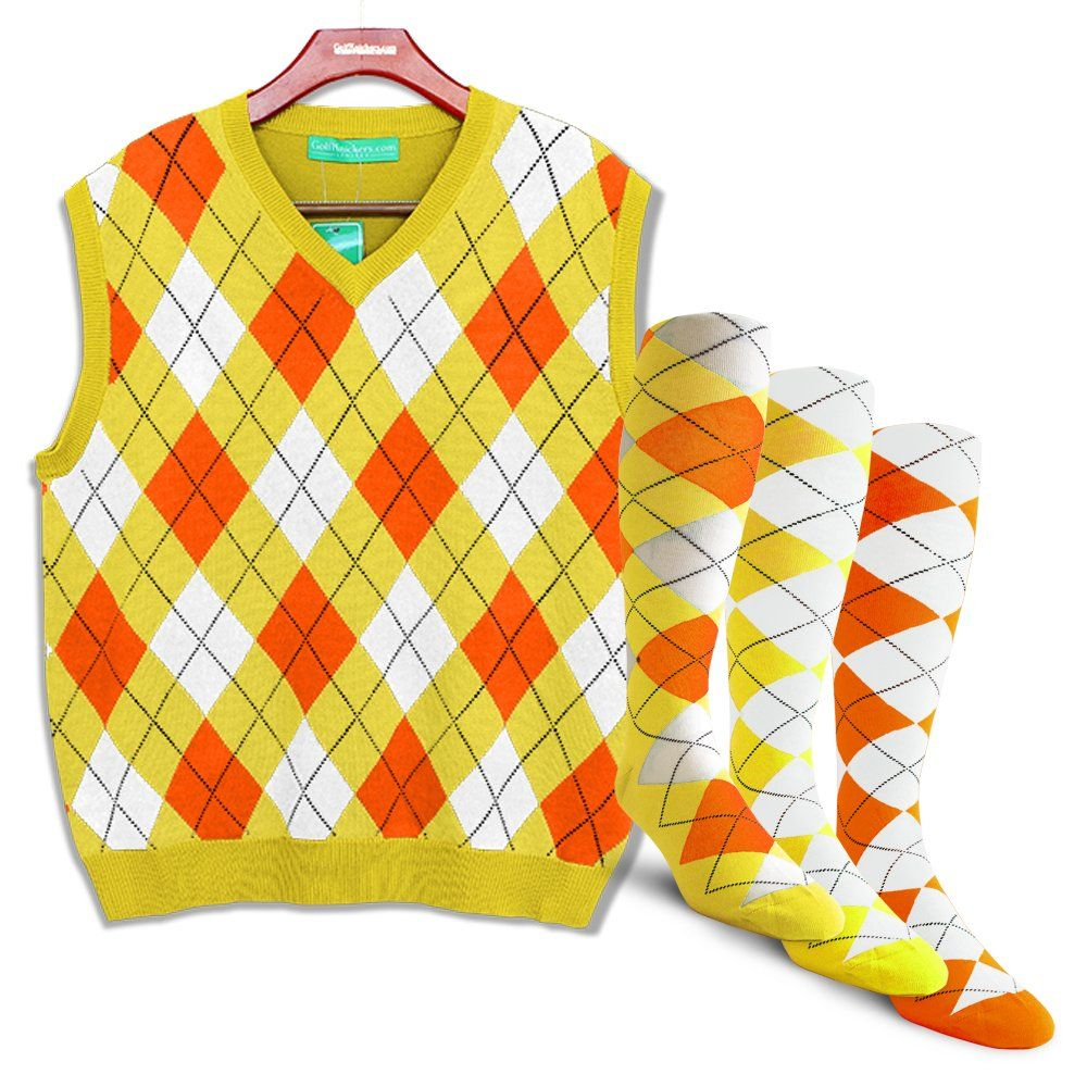 ab46ca3716a118 Golf Clothing *** Golf Knickers Argyle Sweater Vest and 3 Sock Set: Mens  Pullover Golf Vest Yellow/Orange/White Large *** Look into the image by  going to ...