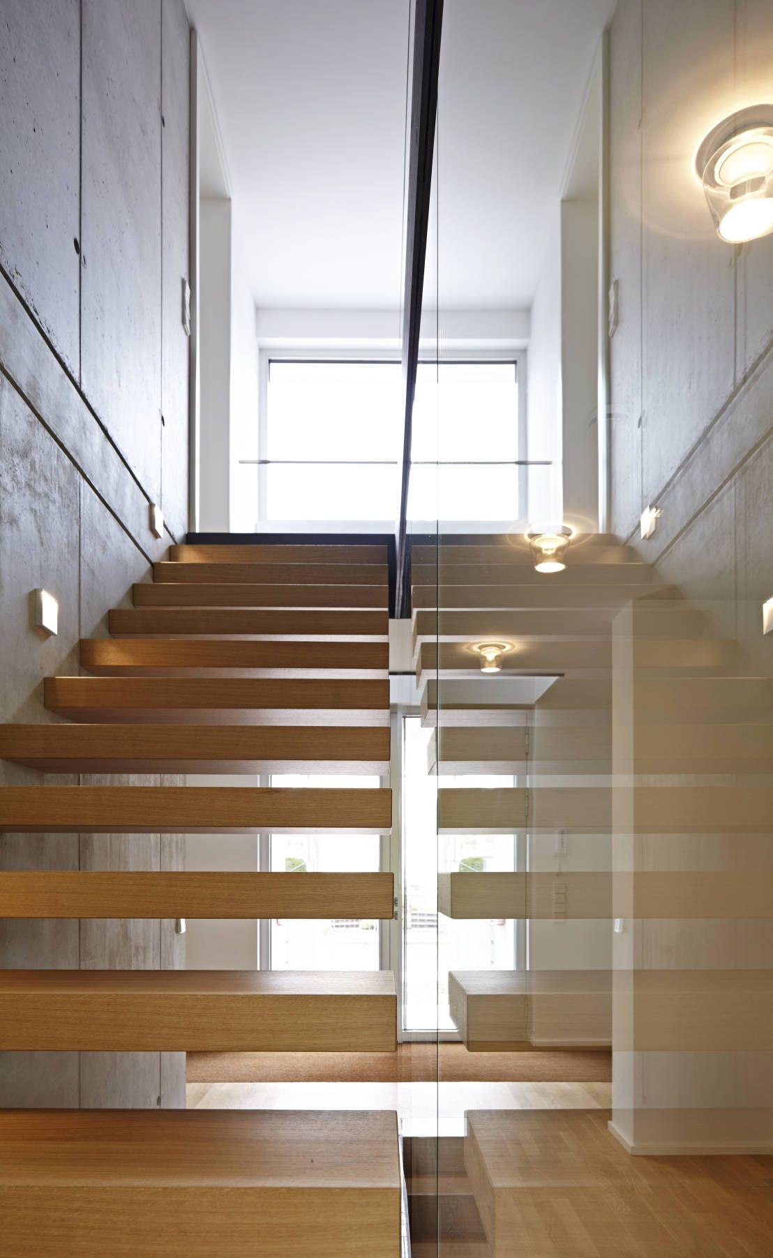 Hängele Treppenhaus wohnhaus h mainz hofbauer architekt sichtbetonwand