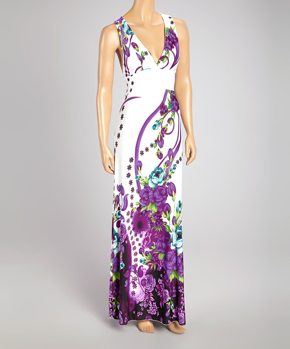 Long solid white dress with vivid purple pattern and flowers