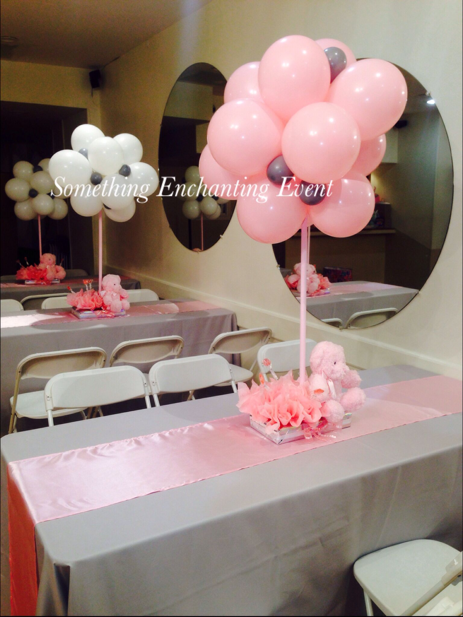 Silver Tablecloths With Pink Runner And Balloon Topiary Teddy Bear Centerpieces