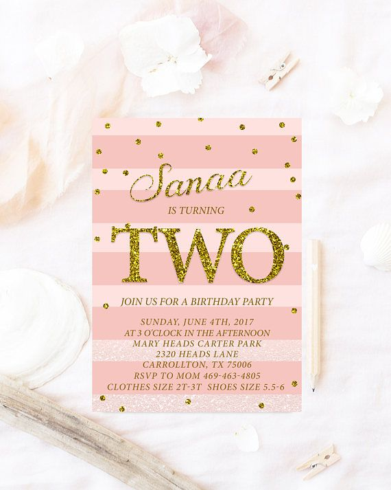 Pink Glitter Birthday Invitation Any Age And Gold Invita