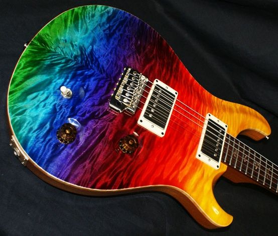 rainbow guitar custom paint job for hubby custom guitar beautiful guitars music guitar. Black Bedroom Furniture Sets. Home Design Ideas