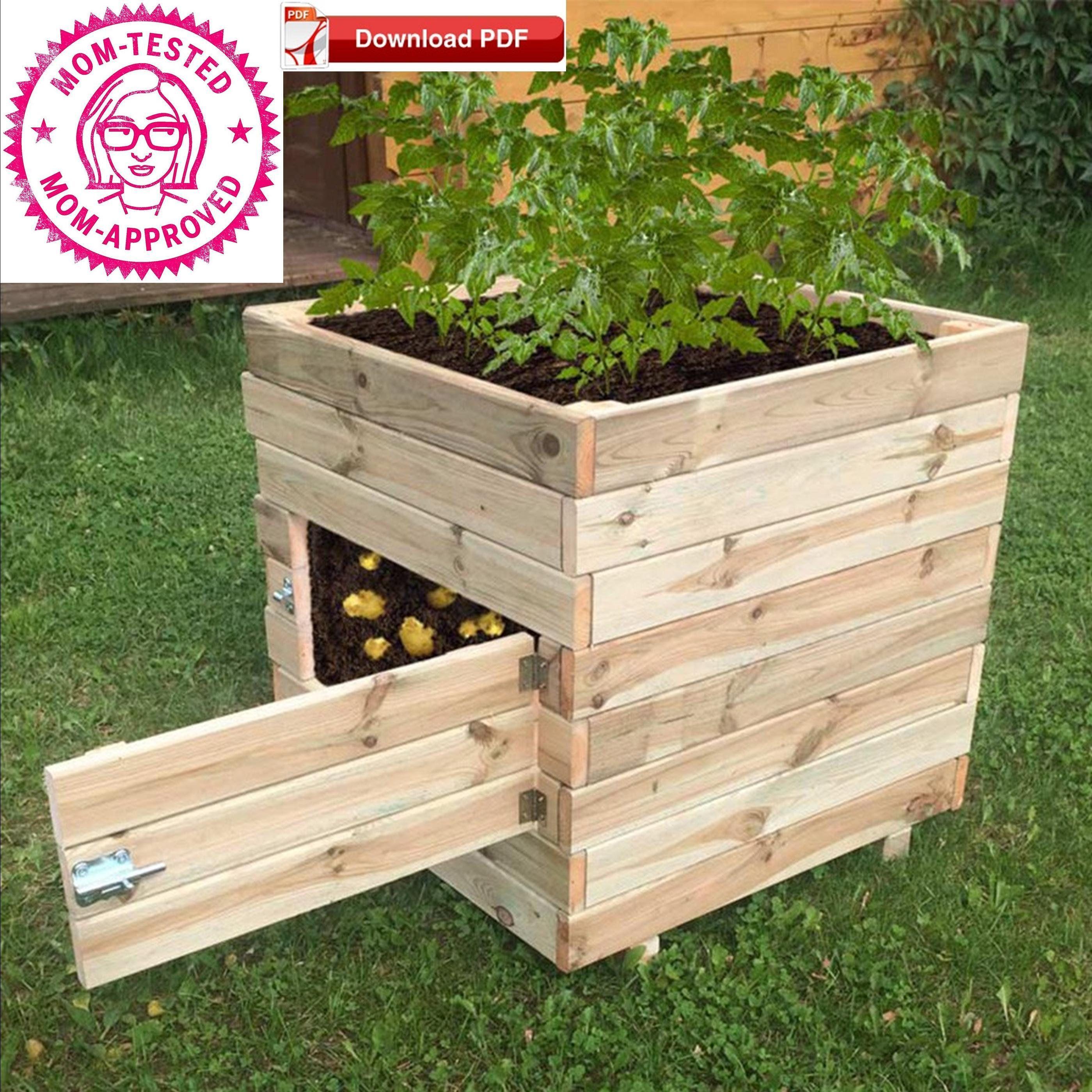 Potato Planter Box Plan Planter Box Plan Pdf Plan Garden Box Plan