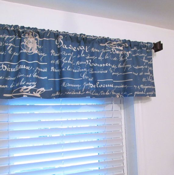 French Stamp Natural Denim Blue Curtain Valance By Oldstation