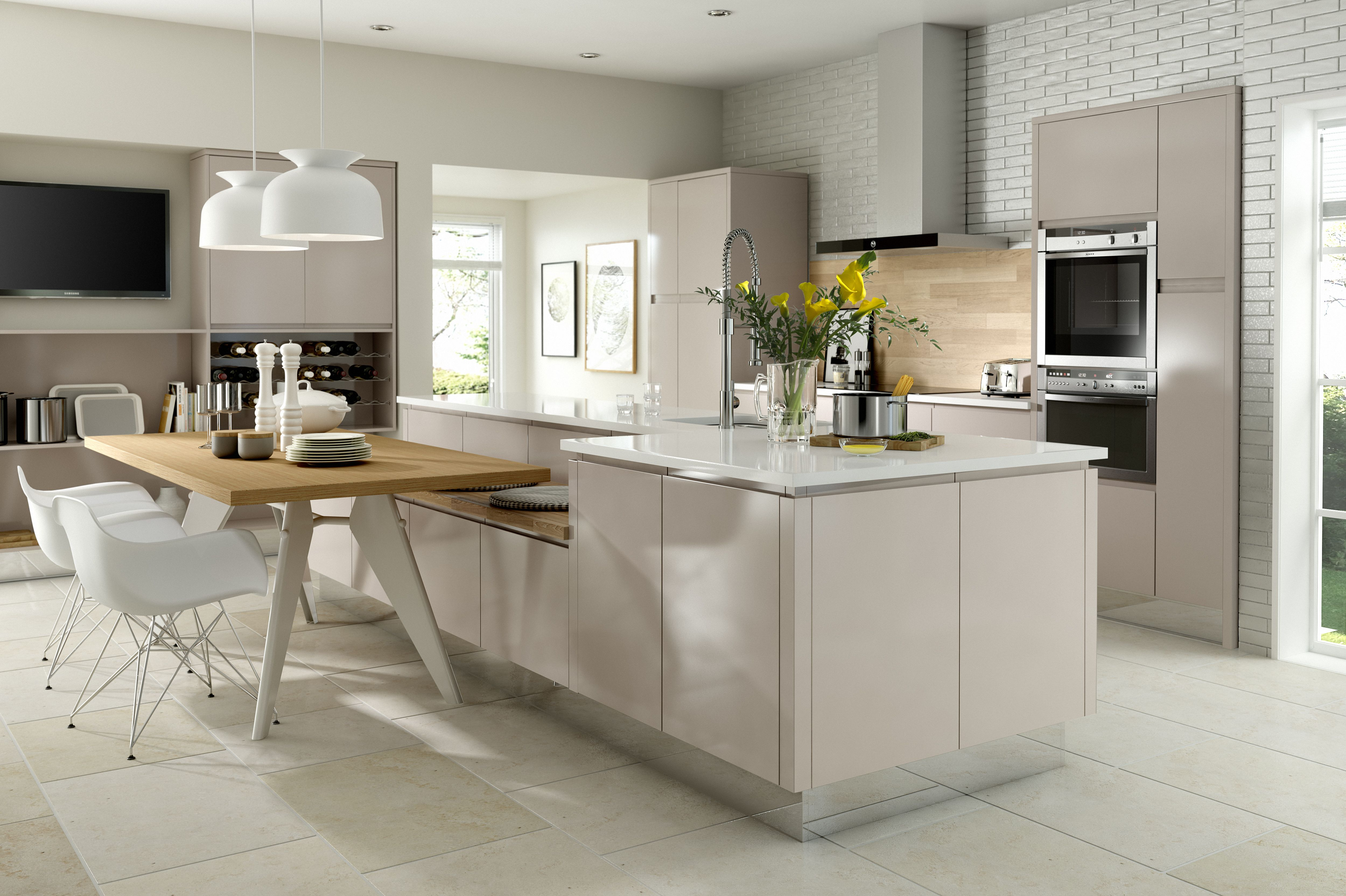 Fusion Gloss Cashmere Fitted Kitchen in 2020 White gloss