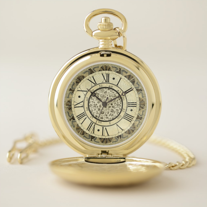 Yellow Pocket Watch Hand Painted Pocket Watch Pocket Watch Decoration Black Number Pocket Watch Drawing Pocket Watch Gold Pocket Watch
