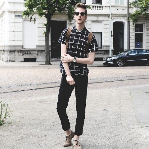With checked shirt, brown backpack and beige shoes | Black Pants ...