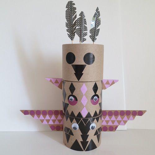 Diy totem carton gommettes allmad e here bricole pinterest indien bricolage et totems - Activite manuelle ado ...