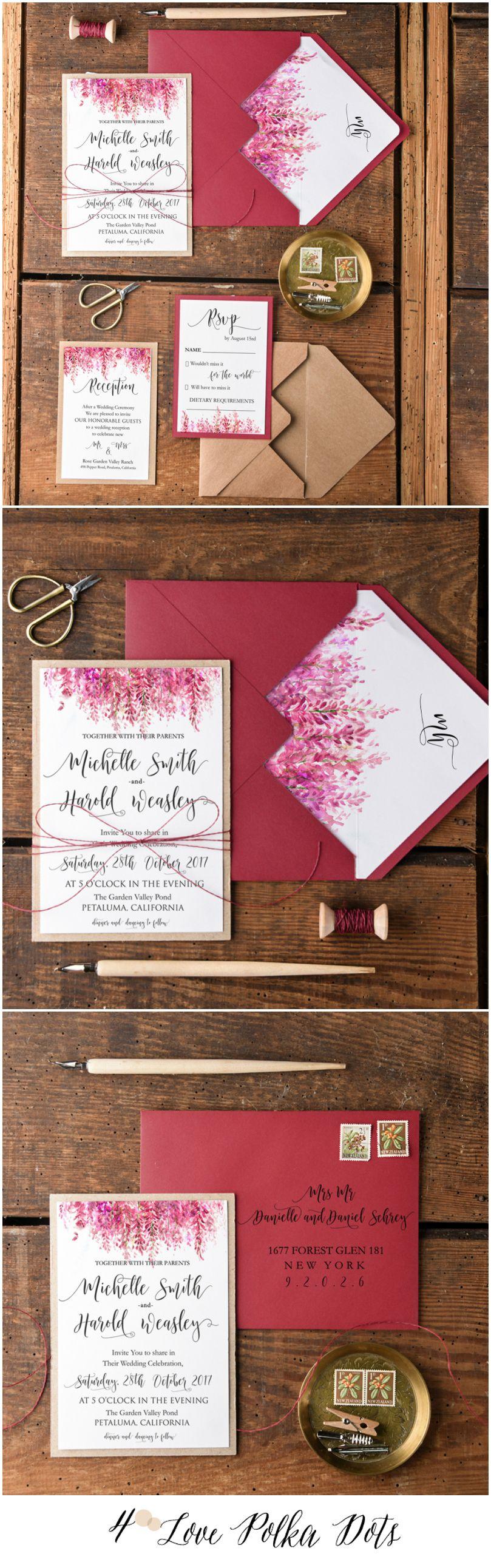 Marsala Heather wedding invitations calligraphy printing #sponsored ...