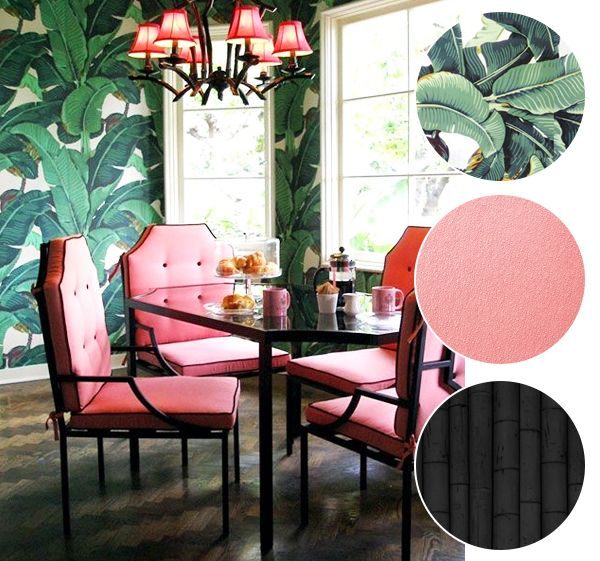 banana leaf dining room chairs stackable chair covers print pattern 5 ways to style prints home wallpaper pink black lacquered bamboo