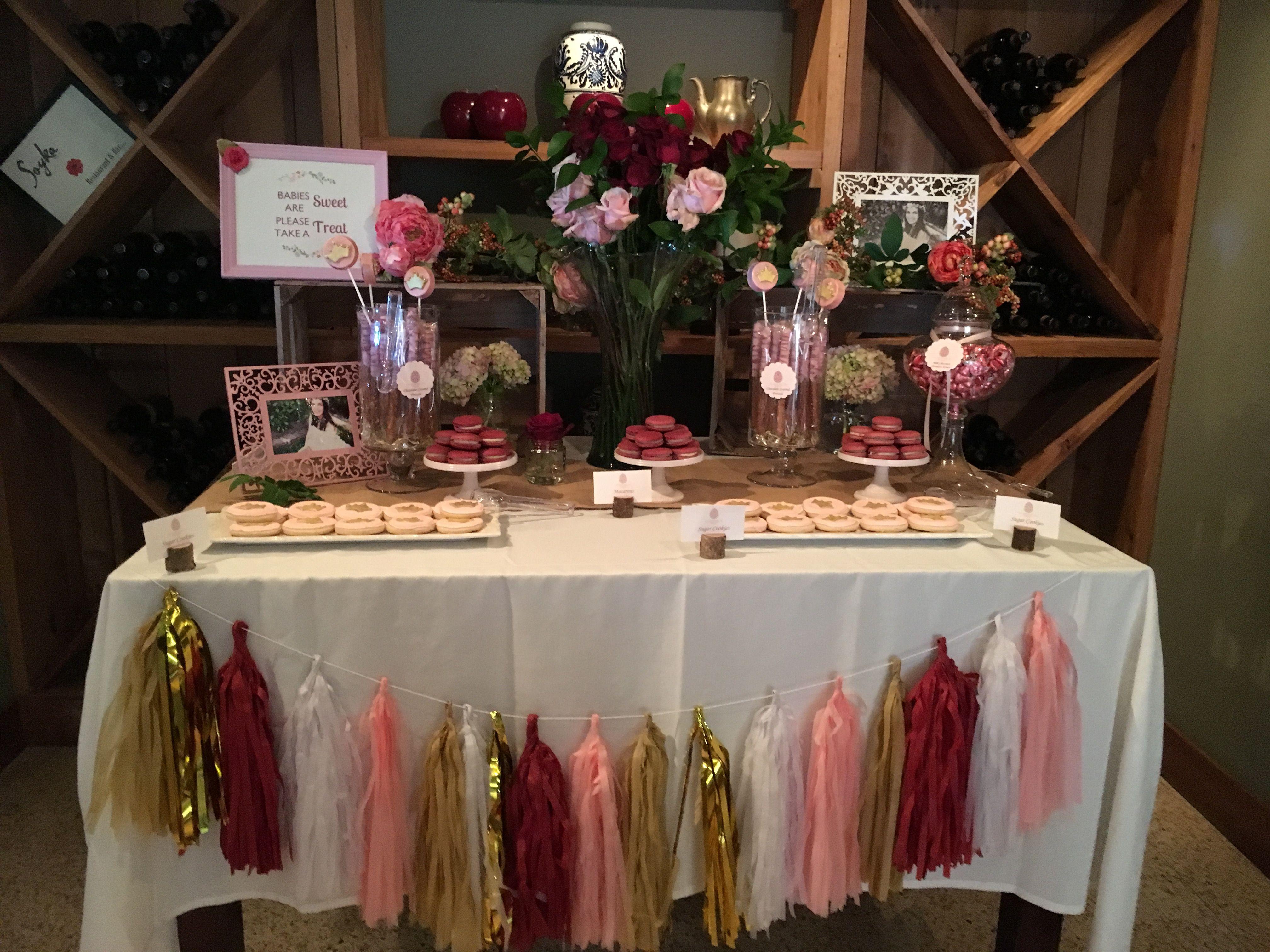 Burgundy, pink, gold dessert table. | Blush bridal showers, Baby shower  fall, Bridal shower decorations