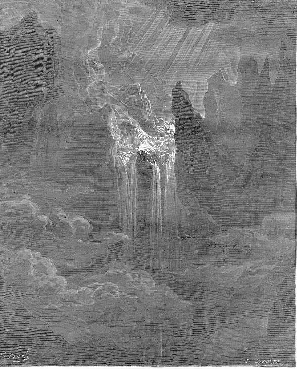 Gustave Doré - Gravure (1868) - Le Paradis perdu (Paradise Lost) est un poème épique écrit par le poète anglais John Milton en 1667. Le poème traite de la vision chrétienne de l'origine de l'Homme, en évoquant la tentation d'Adam & Ève par Satan, puis leur expulsion du Jardin d'Éden.