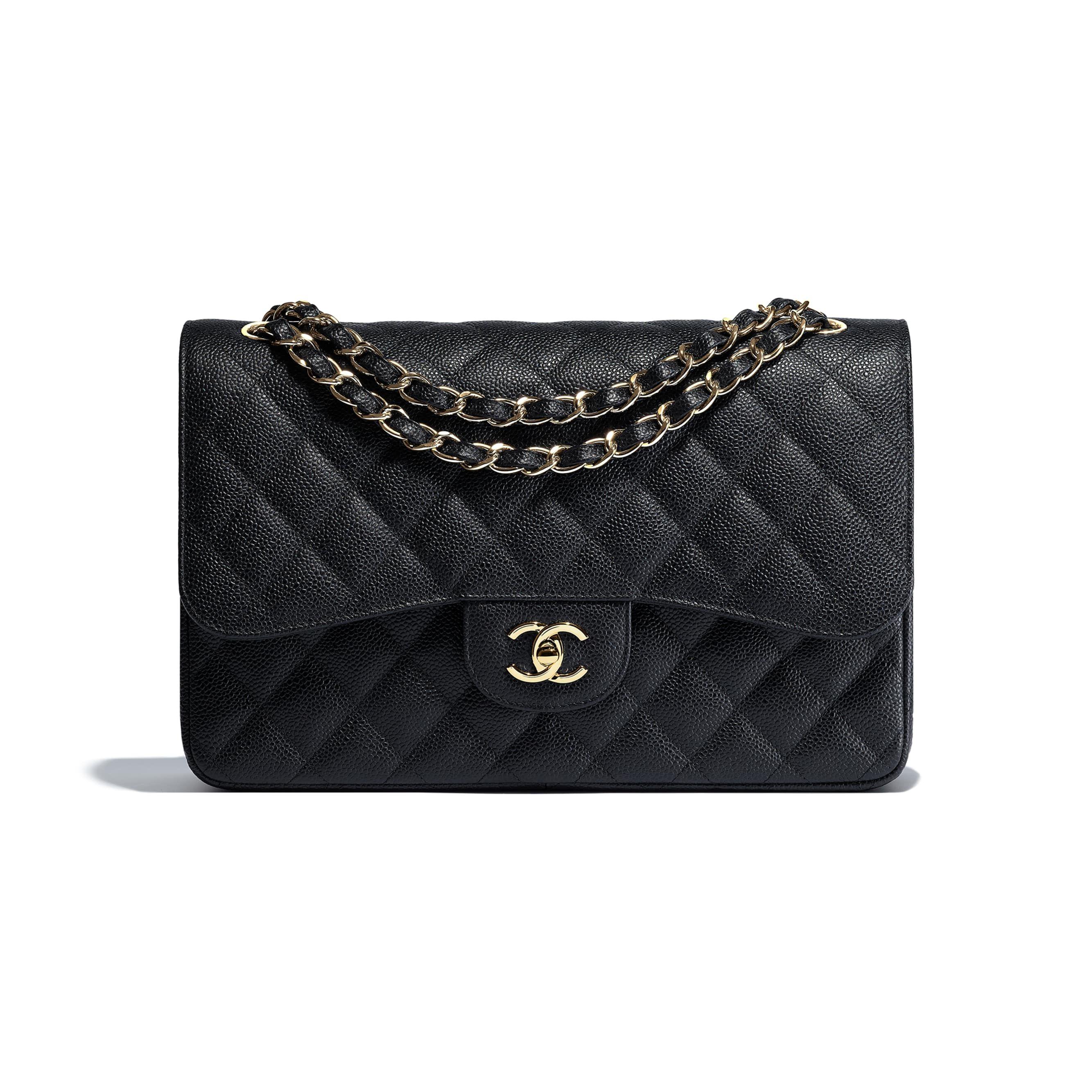 Grained Calfskin Gold Tone Metal Black Large Classic Handbag Chanel Bag Classic Classic Handbags Chanel Bag