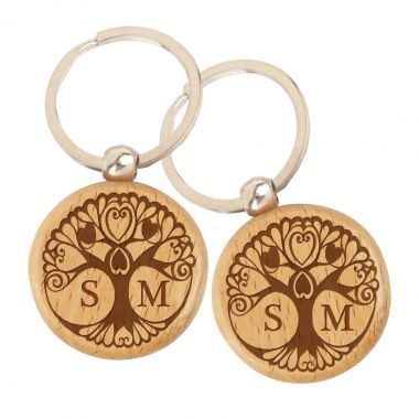 Engraved Wooden Key Chains Set Of 2 Anniversary Gifts For