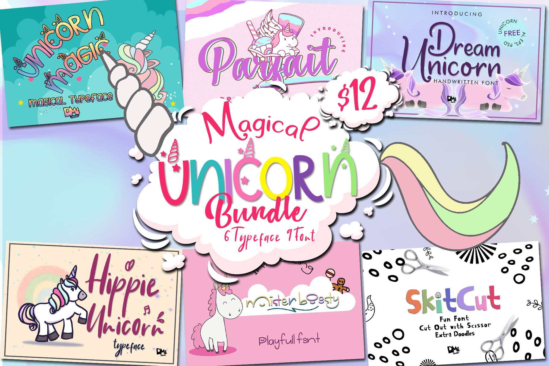 Magical Unicorn Bundle (With images) Christmas fonts
