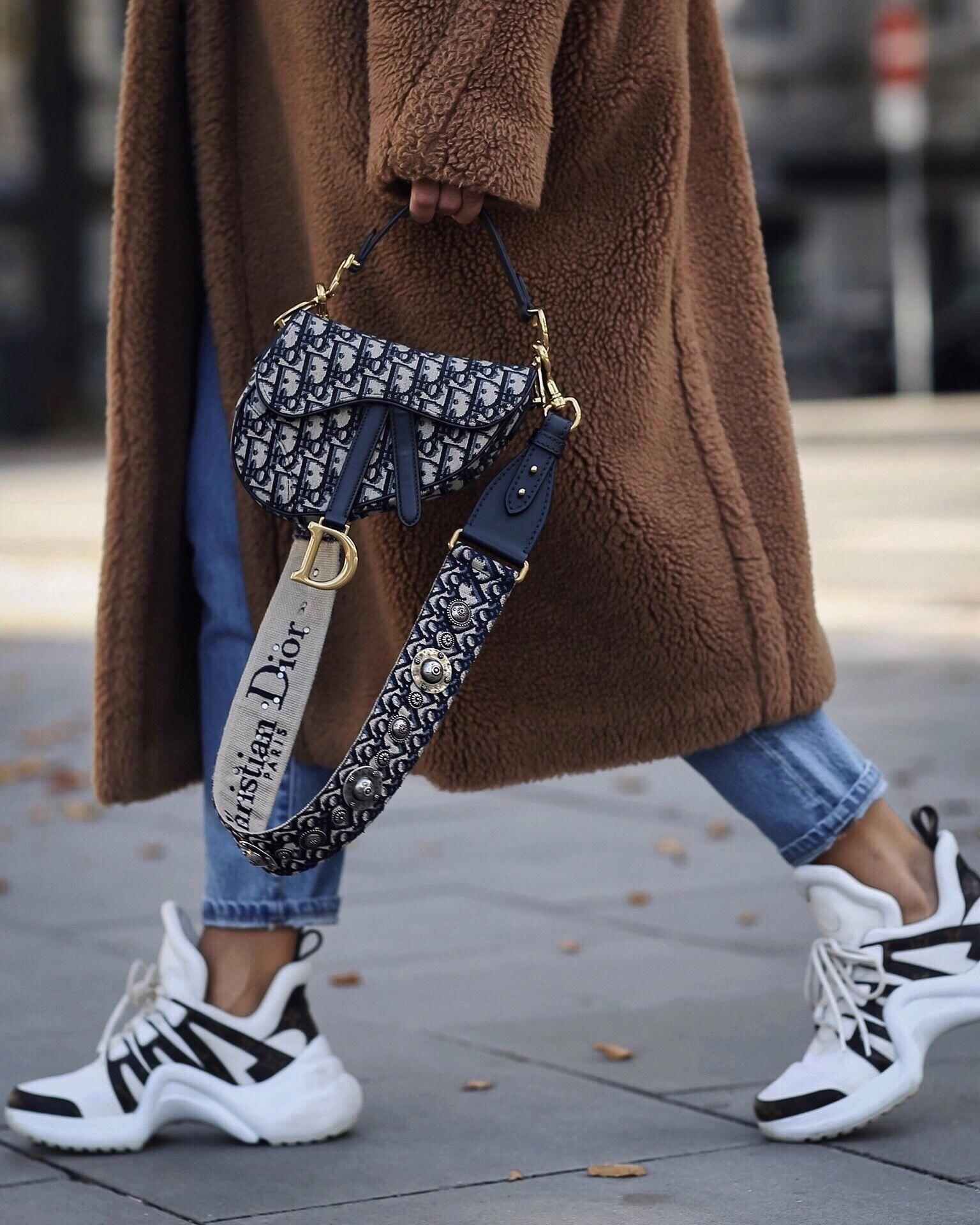 fef1ca52671e Dior saddle bag | Louis Vuitton Archlight Sneaker | max Mara teddy coat  #urbanstreetstyle