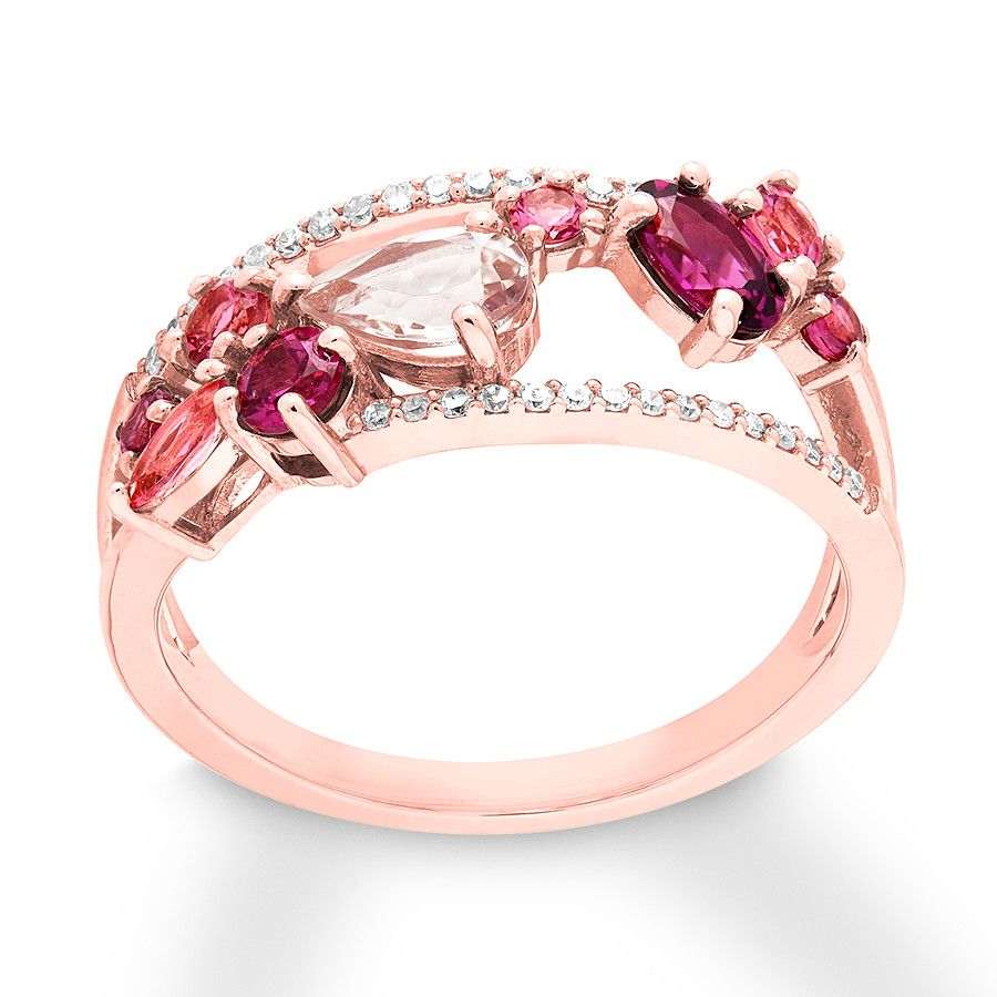 Morganite Garnet Tourmaline Diamond Ring 10k Rose Gold 375883509 Kay Fashion Rings Rose Gold Rose Gold Jewelry