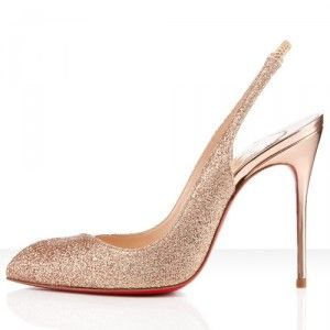 0d71b7cf0c20 Christian Louboutin Corneille Sling 100mm Glitter Slingbacks Nude Red  Bottom Shoes