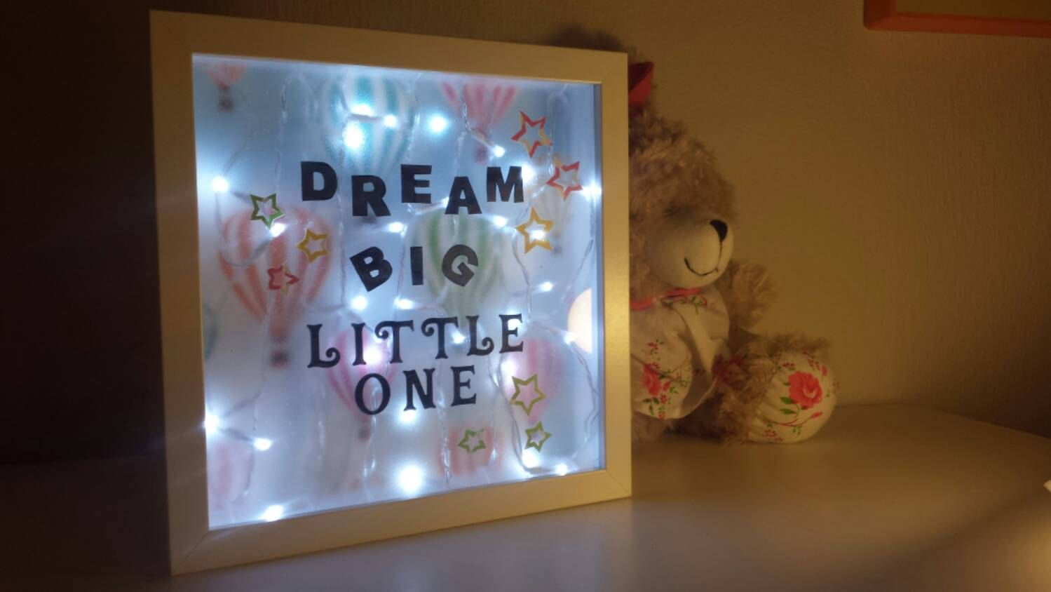 Fairy lights in a shadow box personalized shadow box