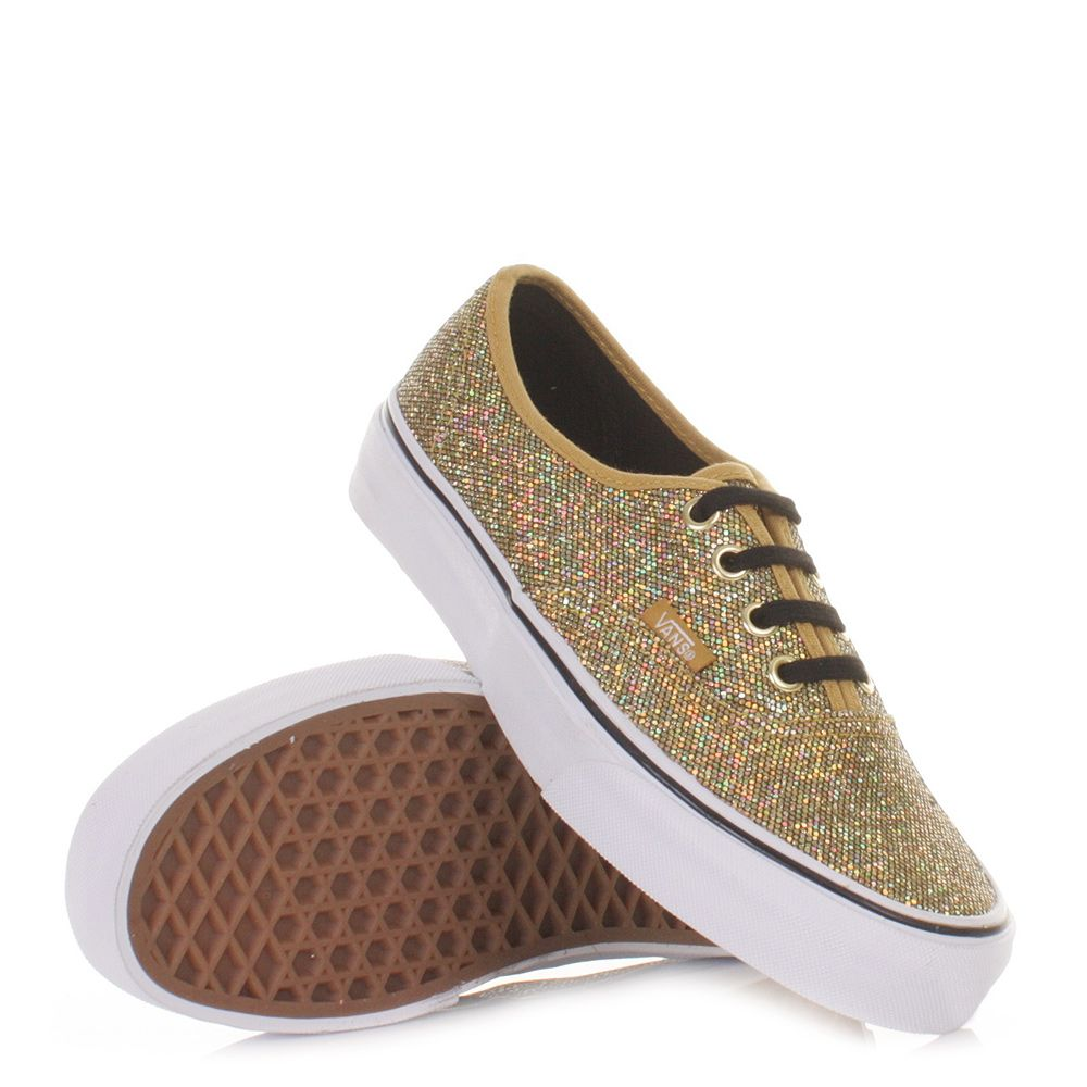 WOMENS LADIES VANS AUTHENTIC GLITTER GOLD MICRO DOTS CASUAL SHOES SIZE 3-8