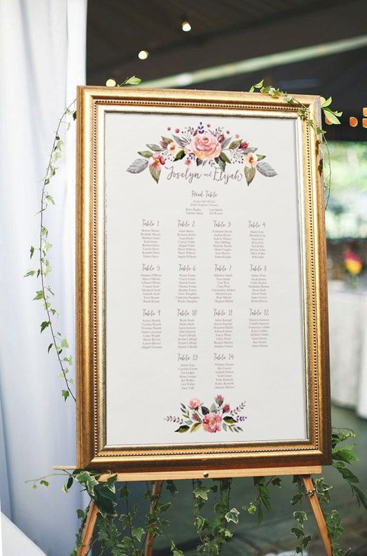 Floral wedding seating chart, printable seating chart, wedding ...