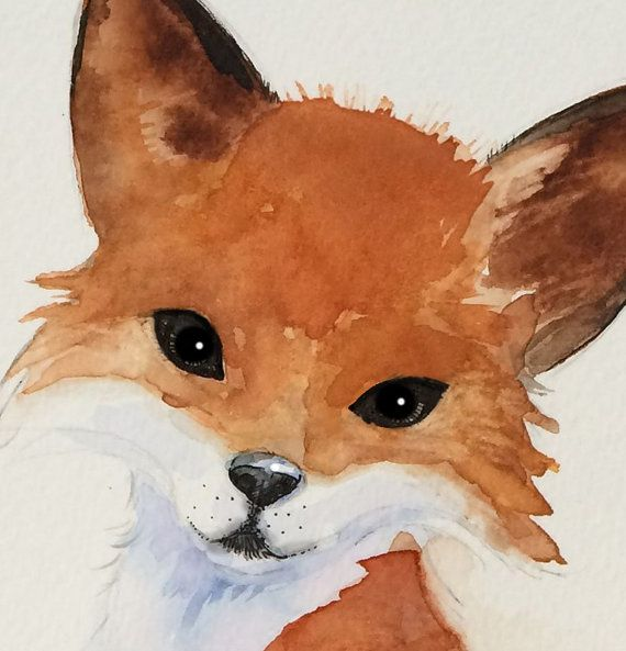 Watercolor Fox Art Nursery Art Kids Art Woodland