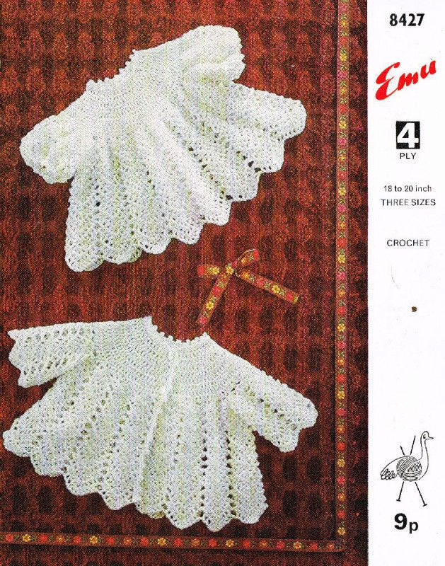 Emu 8427 matinee dress set vintage baby crochet pattern 5024723915200 on eBid United Kingdom