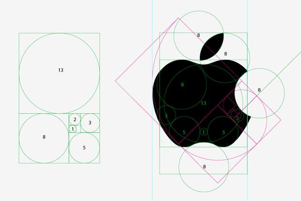 apple + golden ratio ロゴデザイン, 黄金比 デザイン, 会社 ロゴ デザイン