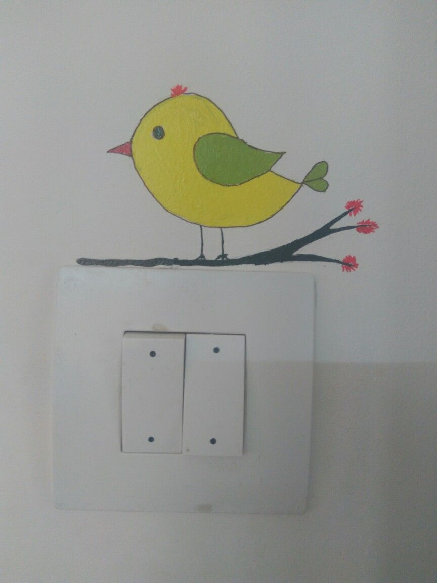 Switchboard Art Wall Painting Decor Wall Painting Bird Sketch