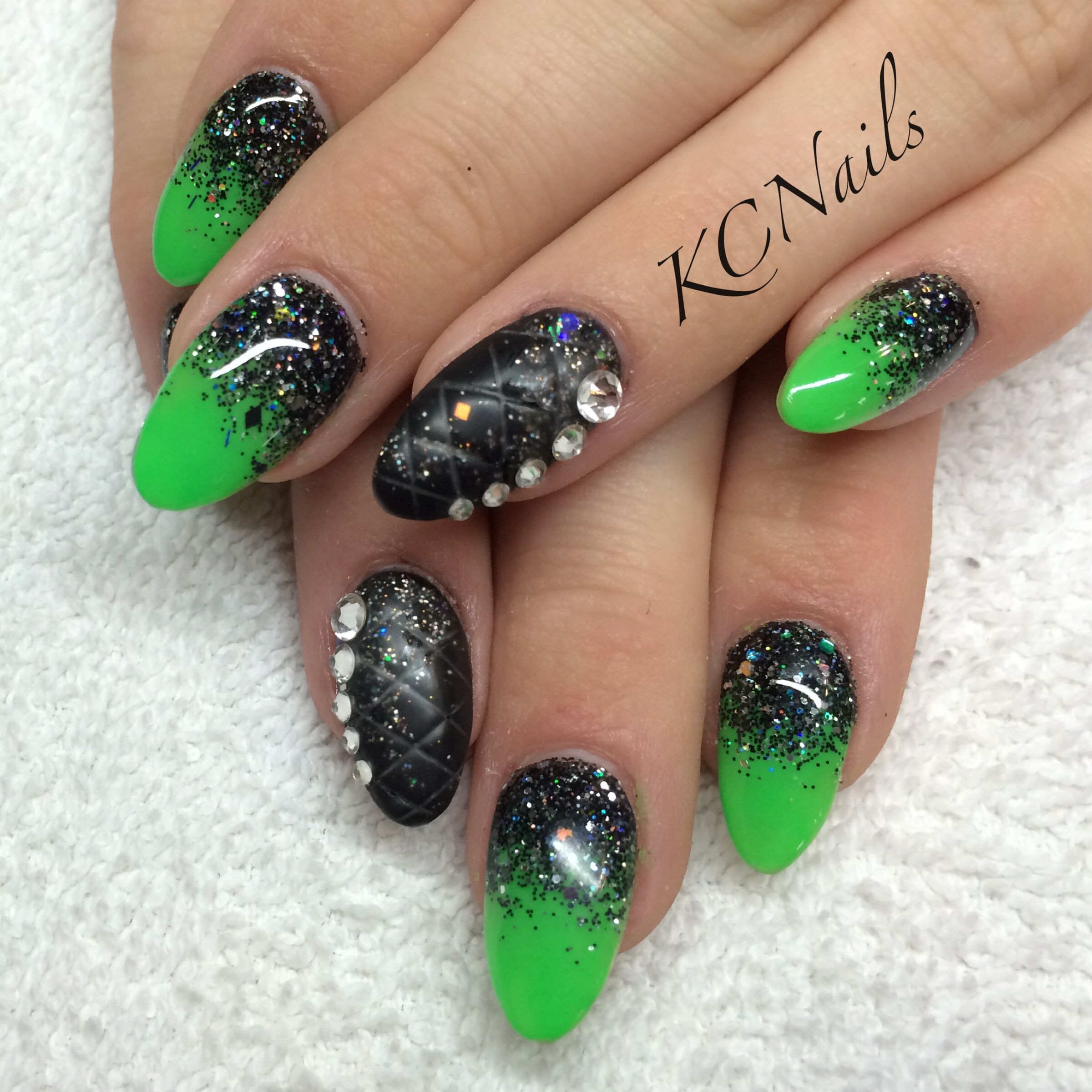 Lime green, black & silver reverse fade acrylic nails. Almond shaped ...