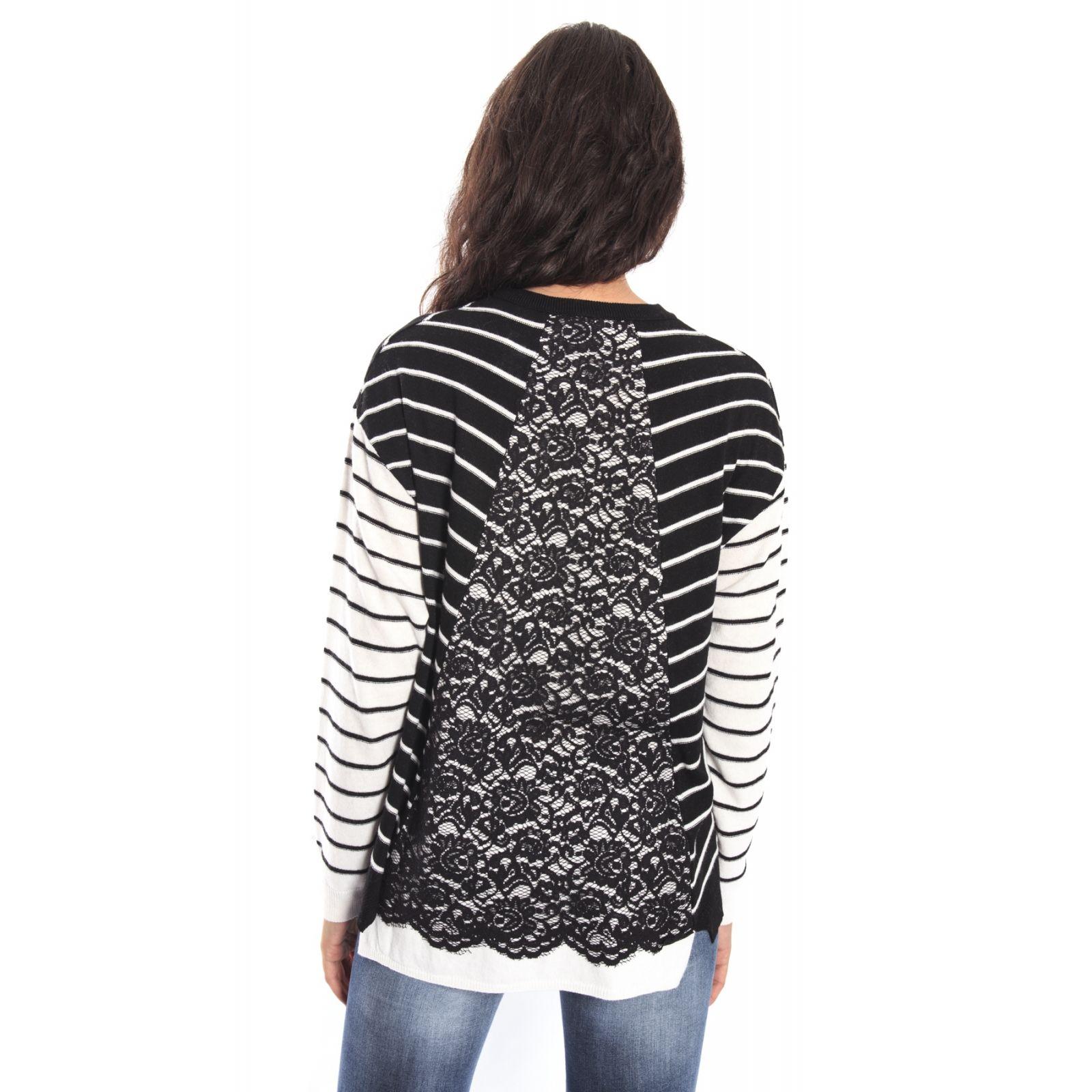 DENNY ROSE Maxi maglia a righe NERO e BIANCO 52DR51010  3d1c6b98248