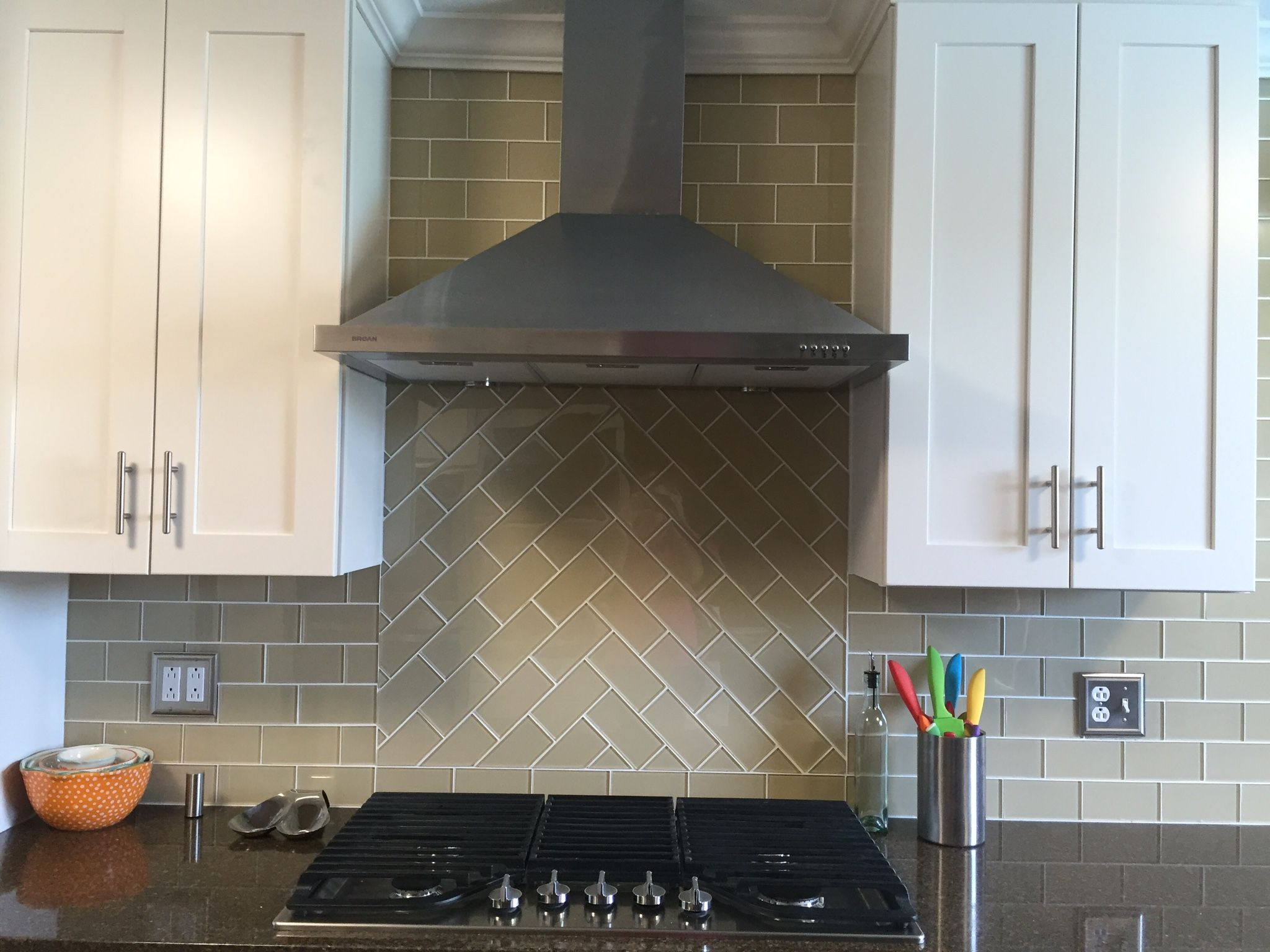 Stunning Khaki Glass Subway Tile Chevron Pattern Above The