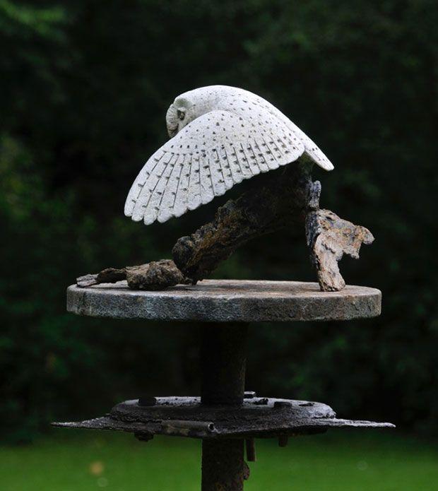 Barn Owl bronze sculpture | とり