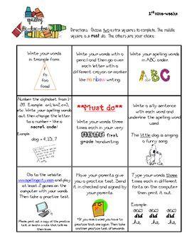 Multiple Spelling Homework Menus for Grades 2, 3, 4 | Teaching ...