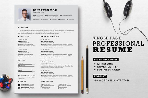 Professional Resume Set By Graphicsegg On Creativemarket  Best