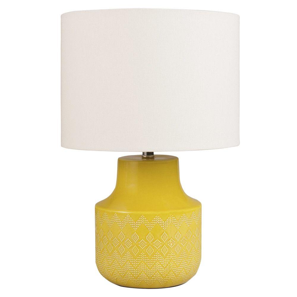 lampe en c ramique jaune abat jour en coton cru maisons du monde moodboard salon. Black Bedroom Furniture Sets. Home Design Ideas