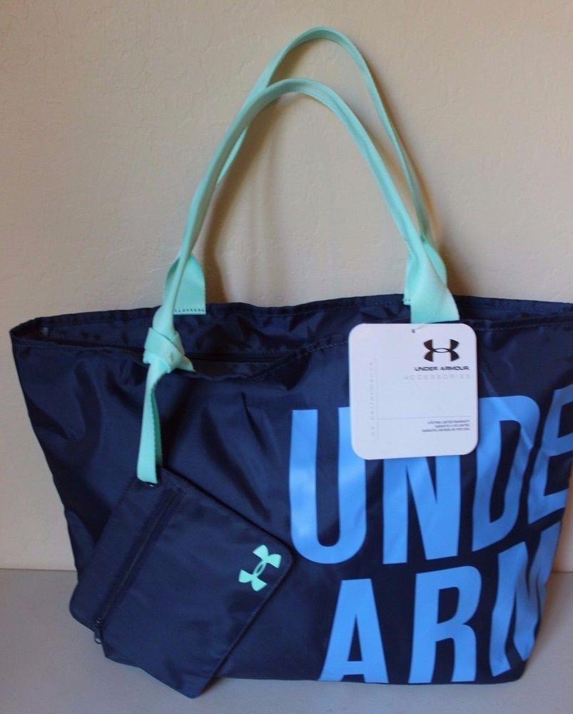 a4b6caaf5b Under Armour Blue Green Logo Gym Tote Bag Wordmark Detachable Zipper Pouch  NEW  UnderArmour  Tote