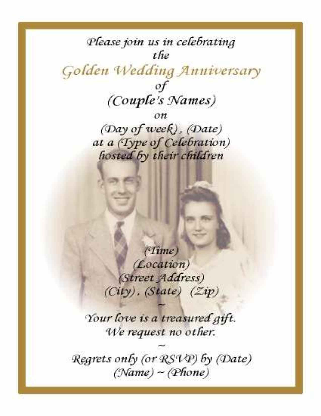 Golden wedding invitation card design paperinvite printable 50th wedding anniversary invitations with pic background stopboris Images