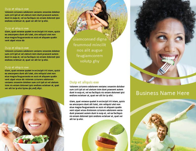 Trifold nutrition and health brochure template hhe for Health pamphlet template