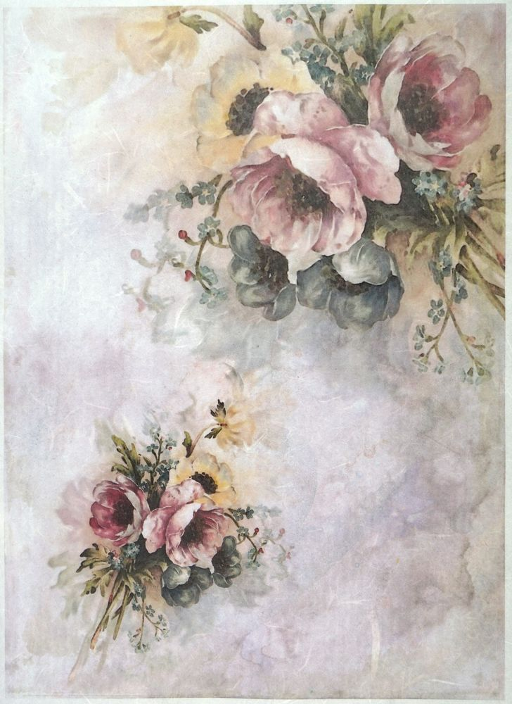 Rice Paper for Decoupage Scrapbook Craft Sheet Vintage roses small
