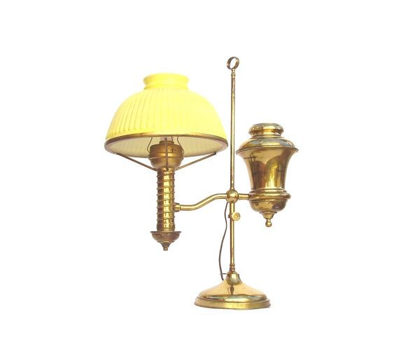 Antique Brass Student Lamp, Vintage Electrified Oil Lamp, Yellow Glass Shade,  Manhattan Desk
