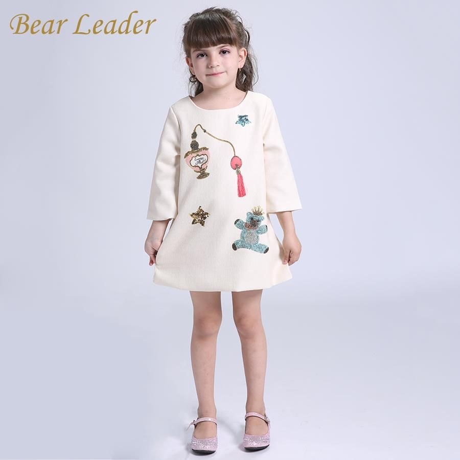 Winter children dresses girls clothes long sleeve litter bear