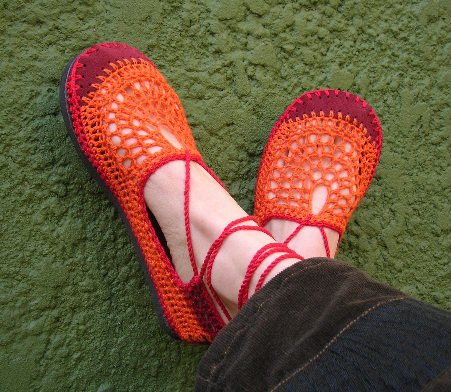 Lace up crochet SHOES - Mary Jane - Tangerine w/ burgundy suede ...