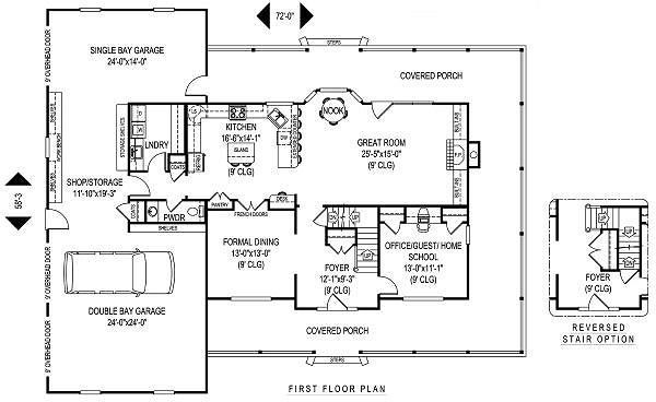 Farmhouse Style House Plan 4 Beds 2 5 Baths 2989 Sq Ft Plan 11 229 House Plans Country Style House Plans Farmhouse Style House Plans