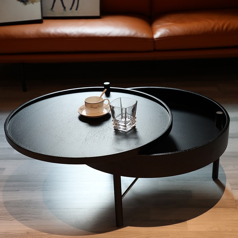 Modern Chic Round Wood Storage Coffee Table Black Natural