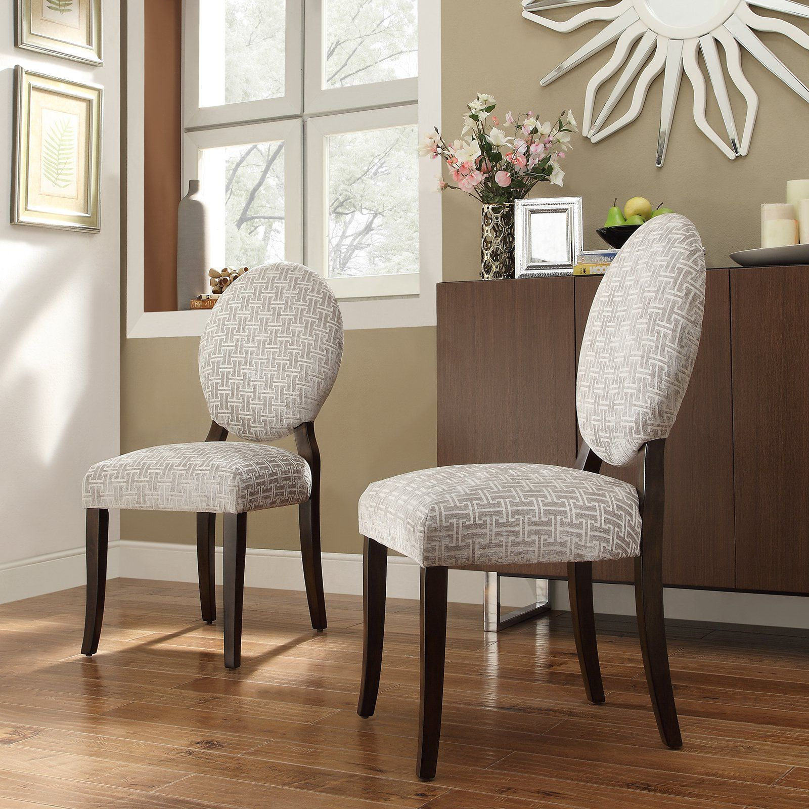 Inspire Q Blanca Round Back Gray Chain Print Fabric Dining Chairs - Set of  2 |